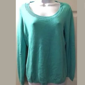 Ann Taylor LOFT Turquoise Scoop Neck Sweater